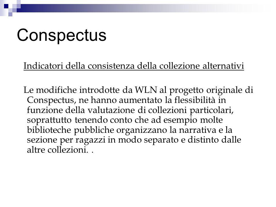 Conspectus Indicatori della consistenza della collezione alternativi Le modifiche introdotte da WLN al progetto originale di Conspectus, ne hanno aume