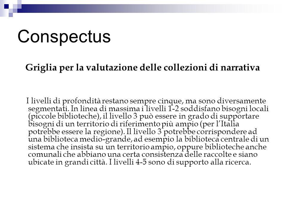 Conspectus Griglia per la valutazione delle collezioni di narrativa I livelli di profondità restano sempre cinque, ma sono diversamente segmentati. In
