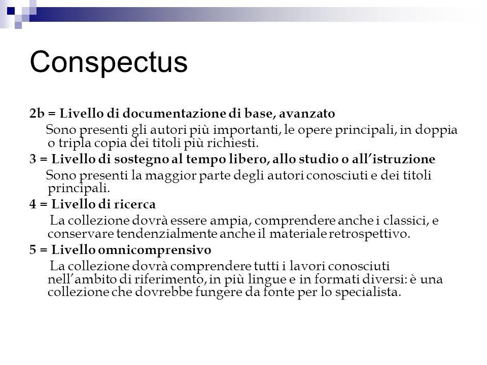 Conspectus 2b = Livello di documentazione di base, avanzato Sono presenti gli autori più importanti, le opere principali, in doppia o tripla copia dei titoli più richiesti.