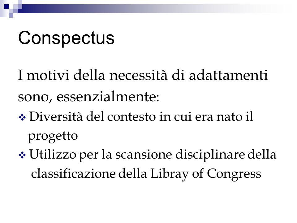 Conspectus I motivi della necessità di adattamenti sono, essenzialmente : Diversità del contesto in cui era nato il progetto Utilizzo per la scansione disciplinare della classificazione della Libray of Congress