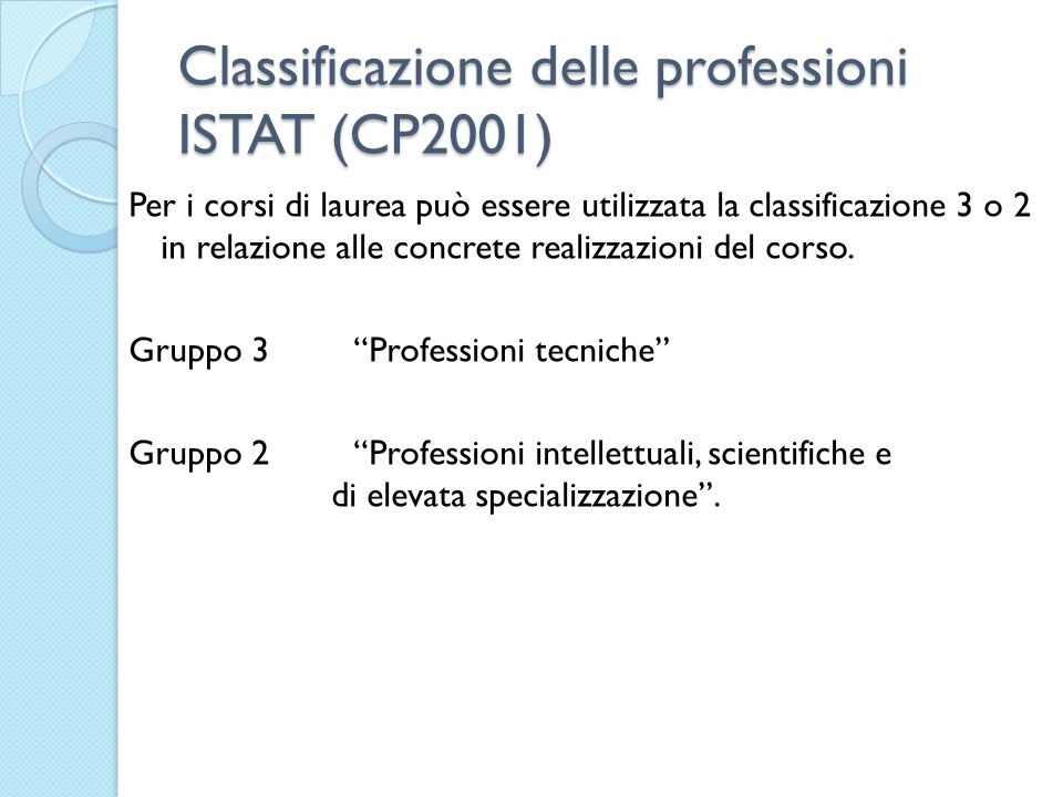 Classificazione delle professioni ISTAT (CP2001) Per i corsi di laurea può essere utilizzata la classificazione 3 o 2 in relazione alle concrete realizzazioni del corso.