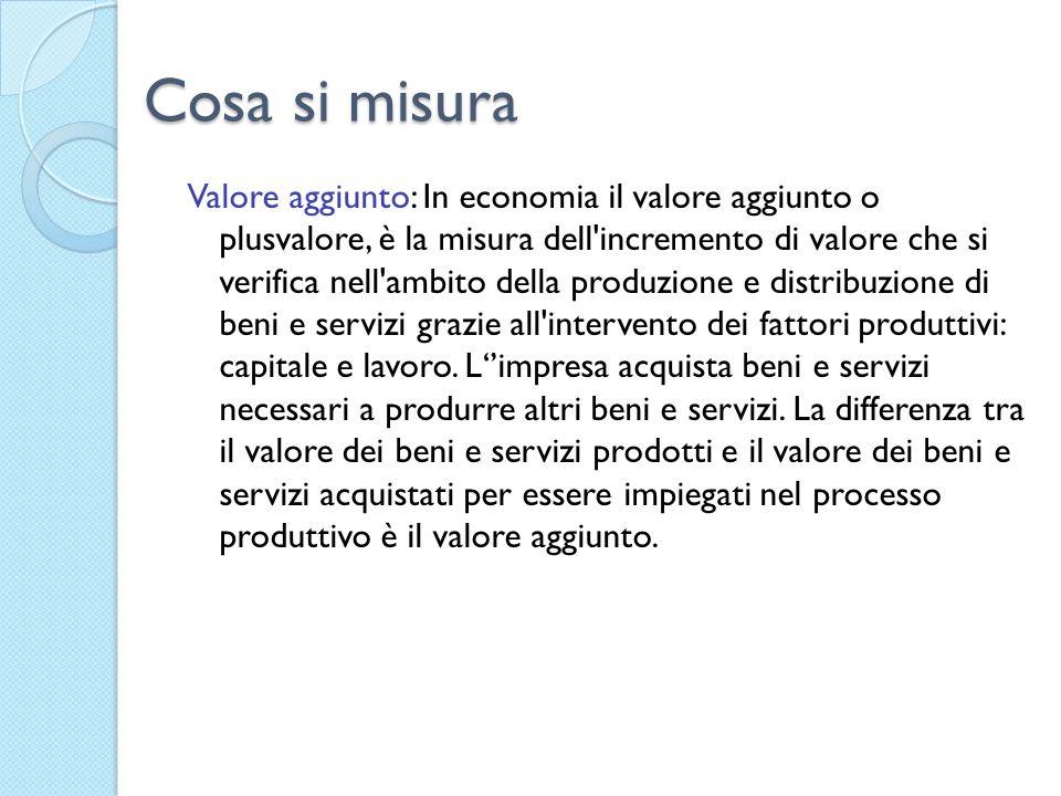 Cosa si misura Valore aggiunto: In economia il valore aggiunto o plusvalore, è la misura dell incremento di valore che si verifica nell ambito della produzione e distribuzione di beni e servizi grazie all intervento dei fattori produttivi: capitale e lavoro.