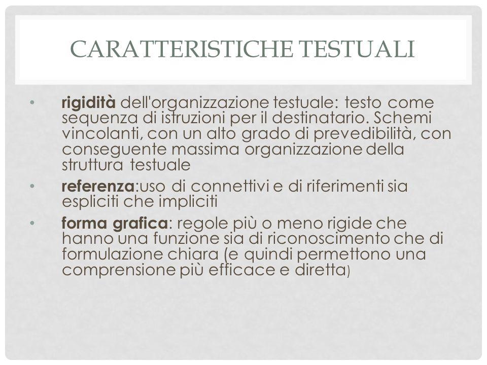 CARATTERISTICHE TESTUALI rigidità dell organizzazione testuale: testo come sequenza di istruzioni per il destinatario.