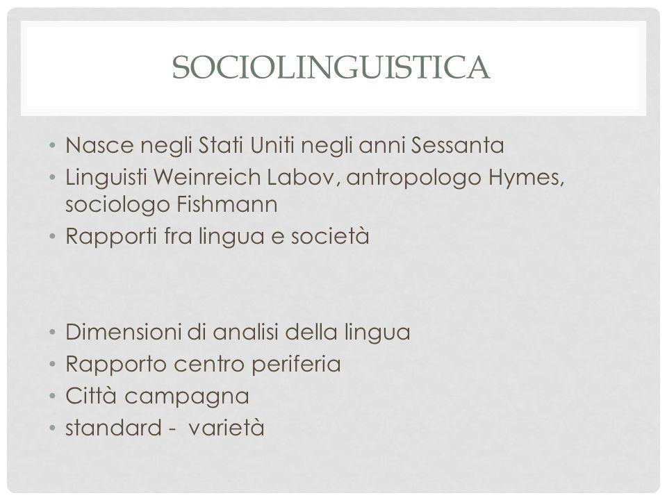 ATTEGGIAMENTO SOCIOLINGUISTICO In italiano, ad esempio, si osserva variazione tra forme come siedo e seggo, visto e veduto, apparve e apparse, obiettivo e obbiettivo, col e con il La lingua utilizzata è una scelta: spesso automatica, per il contesto sociale nel quale si trova