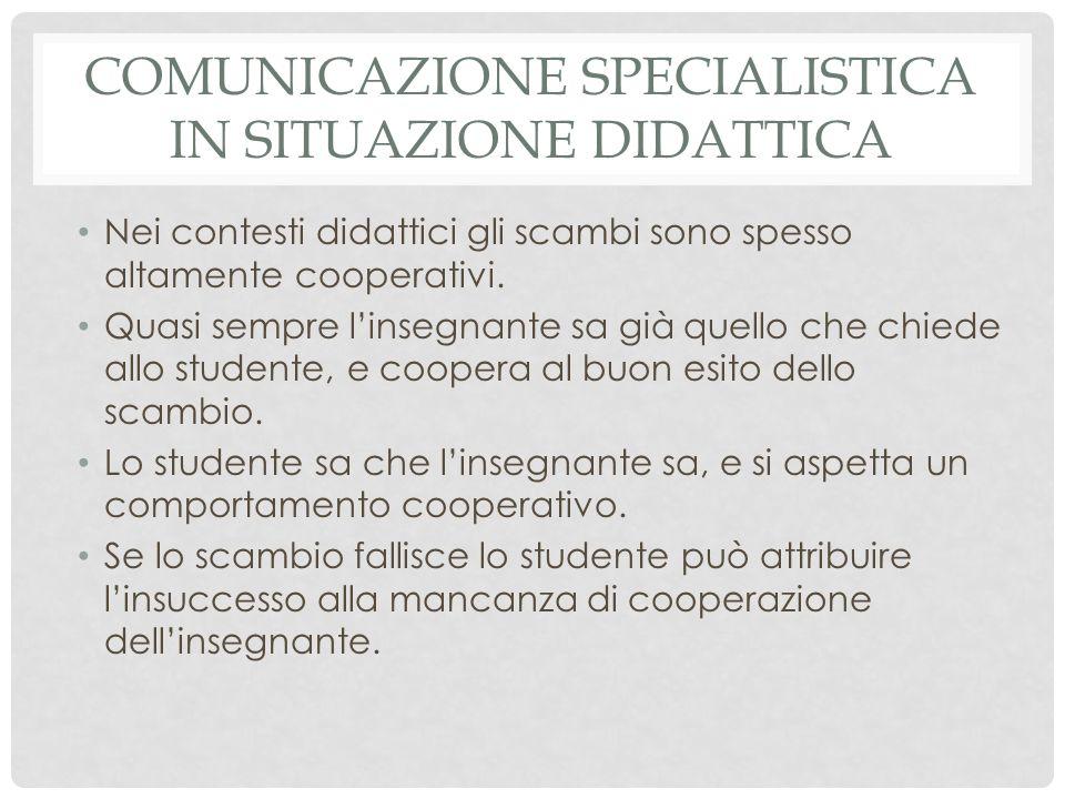 COMUNICAZIONE SPECIALISTICA IN SITUAZIONE DIDATTICA Nei contesti didattici gli scambi sono spesso altamente cooperativi.