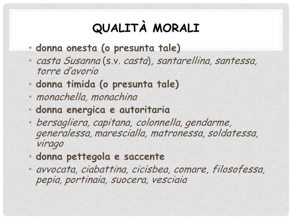 QUALITÀ MORALI donna onesta (o presunta tale) casta Susanna (s.v.