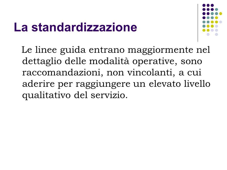 La standardizzazione Esempio: Linee guida UNESCO/IFLA (2001 ultima versione; 2002 edizione italiana) sul servizio bibliotecario pubblico, che intendono definire quali sono i requisiti indispensabili per lorganizzazione di un servizio bibliotecario e dare indicazioni per la loro attuazione, tenendo presente contesti diversi.