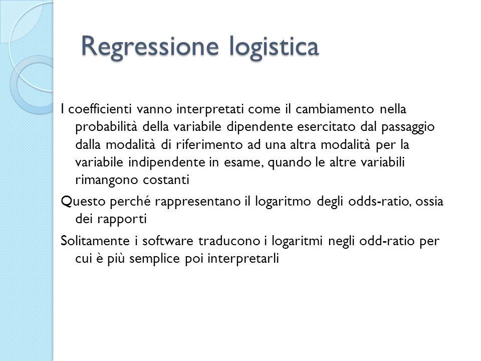 Regressione logistica I coefficienti vanno interpretati come il cambiamento nella probabilità della variabile dipendente esercitato dal passaggio dall