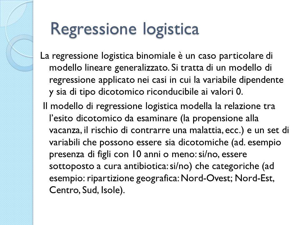 Regressione logistica Lequazione logistica produce la stima dei valori medi della variabile dicotomica dipendente (y) in corrispondenza dei valori assunti dalle variabili indipendenti (x i ) Essendo la y una variabile dicotomica la sua media è uguale alla proporzione di casi che assumono il valore 1.