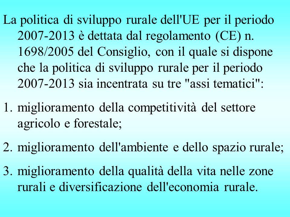 La politica di sviluppo rurale dell UE per il periodo 2007-2013 è dettata dal regolamento (CE) n.