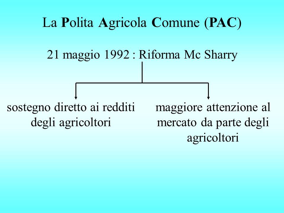 La Polita Agricola Comune (PAC) 21 maggio 1992 : Riforma Mc Sharry sostegno diretto ai redditi degli agricoltori maggiore attenzione al mercato da parte degli agricoltori