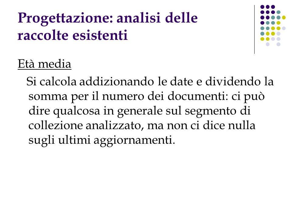 Progettazione: analisi delle raccolte esistenti Età media Si calcola addizionando le date e dividendo la somma per il numero dei documenti: ci può dir