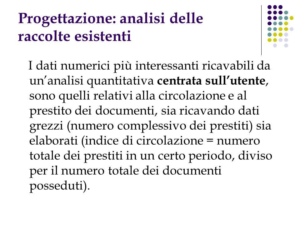 Progettazione: analisi delle raccolte esistenti I dati numerici più interessanti ricavabili da unanalisi quantitativa centrata sullutente, sono quelli