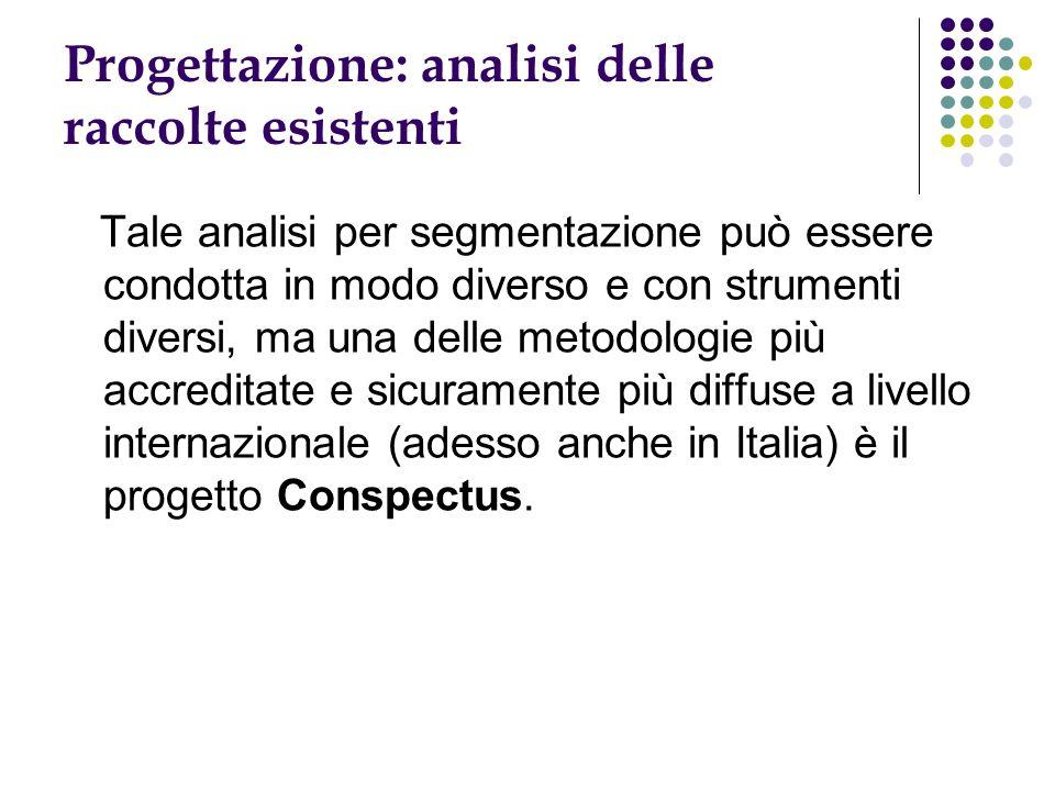 Progettazione: analisi delle raccolte esistenti Tale analisi per segmentazione può essere condotta in modo diverso e con strumenti diversi, ma una delle metodologie più accreditate e sicuramente più diffuse a livello internazionale (adesso anche in Italia) è il progetto Conspectus.