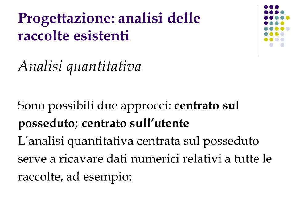 Progettazione: analisi delle raccolte esistenti Analisi quantitativa Sono possibili due approcci: centrato sul posseduto ; centrato sullutente Lanalis