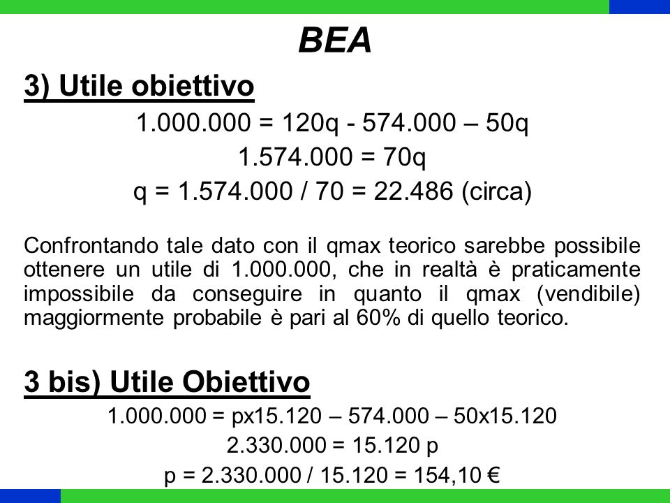 BEA 3) Utile obiettivo 1.000.000 = 120q - 574.000 – 50q 1.574.000 = 70q q = 1.574.000 / 70 = 22.486 (circa) Confrontando tale dato con il qmax teorico