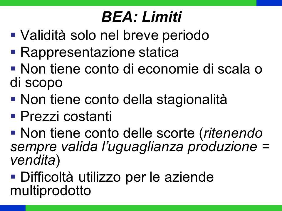 BEA: Limiti Validità solo nel breve periodo Rappresentazione statica Non tiene conto di economie di scala o di scopo Non tiene conto della stagionalit