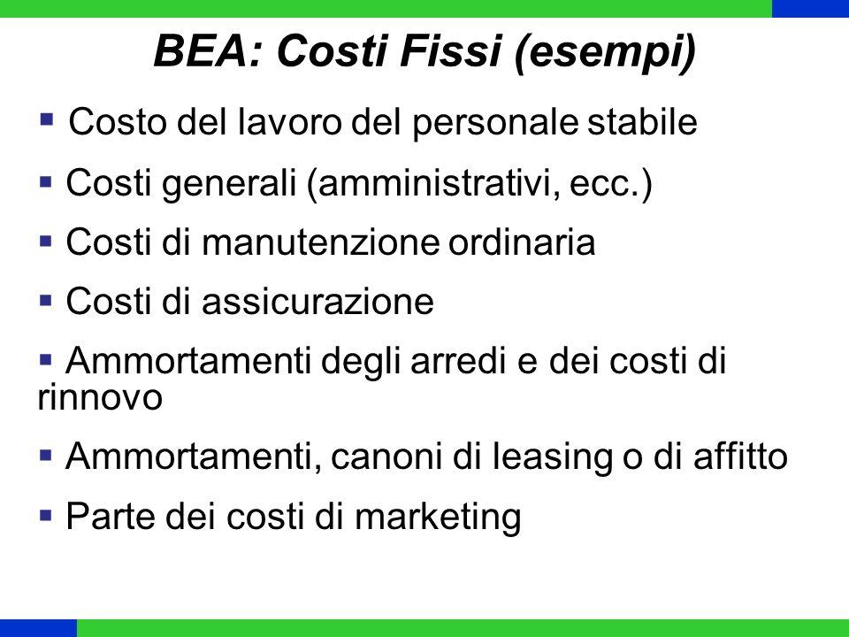 BEA: Costi Fissi (esempi) Costo del lavoro del personale stabile Costi generali (amministrativi, ecc.) Costi di manutenzione ordinaria Costi di assicu
