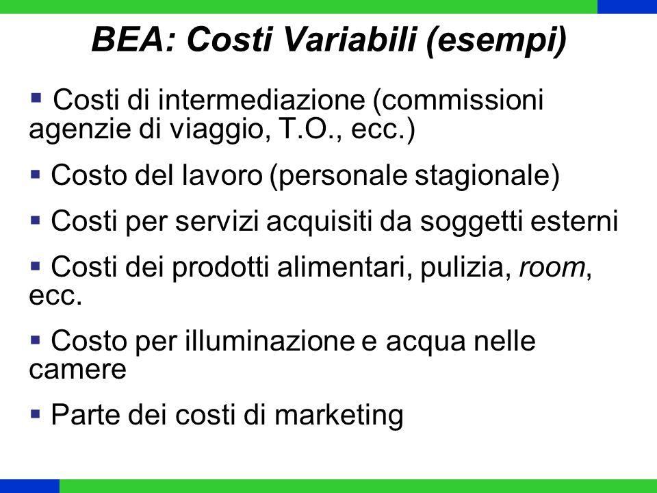 BEA: Costi Variabili (esempi) Costi di intermediazione (commissioni agenzie di viaggio, T.O., ecc.) Costo del lavoro (personale stagionale) Costi per