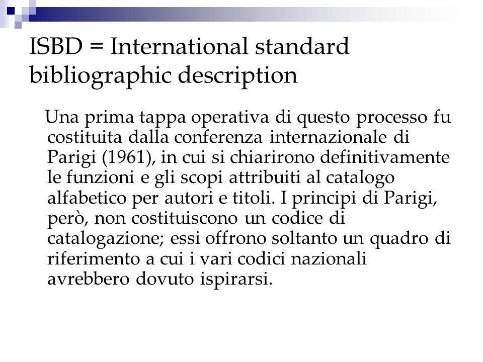 ISBD = International standard bibliographic description Laccettazione dei principi di Parigi comportava lobbligo di una revisione globale dei codici di catalogazione vigenti in quel momento per adeguarli a quanto stabilito nella conferenza.