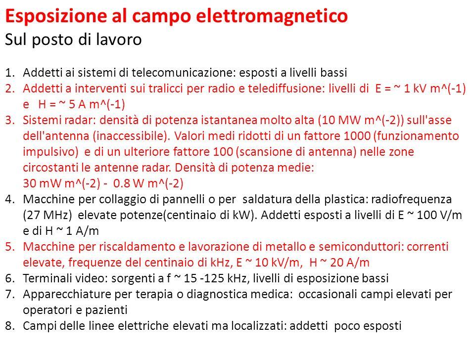 Esposizione al campo elettromagnetico Sul posto di lavoro 1.Addetti ai sistemi di telecomunicazione: esposti a livelli bassi 2.Addetti a interventi su