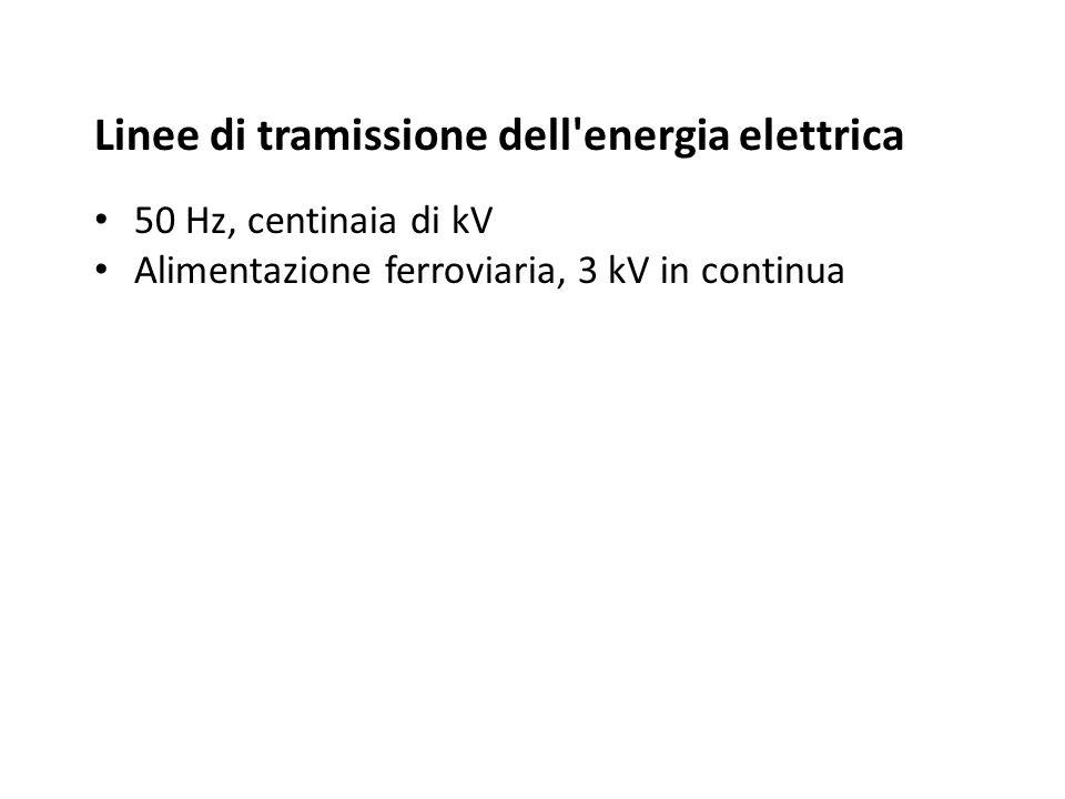 Linee di tramissione dell'energia elettrica 50 Hz, centinaia di kV Alimentazione ferroviaria, 3 kV in continua
