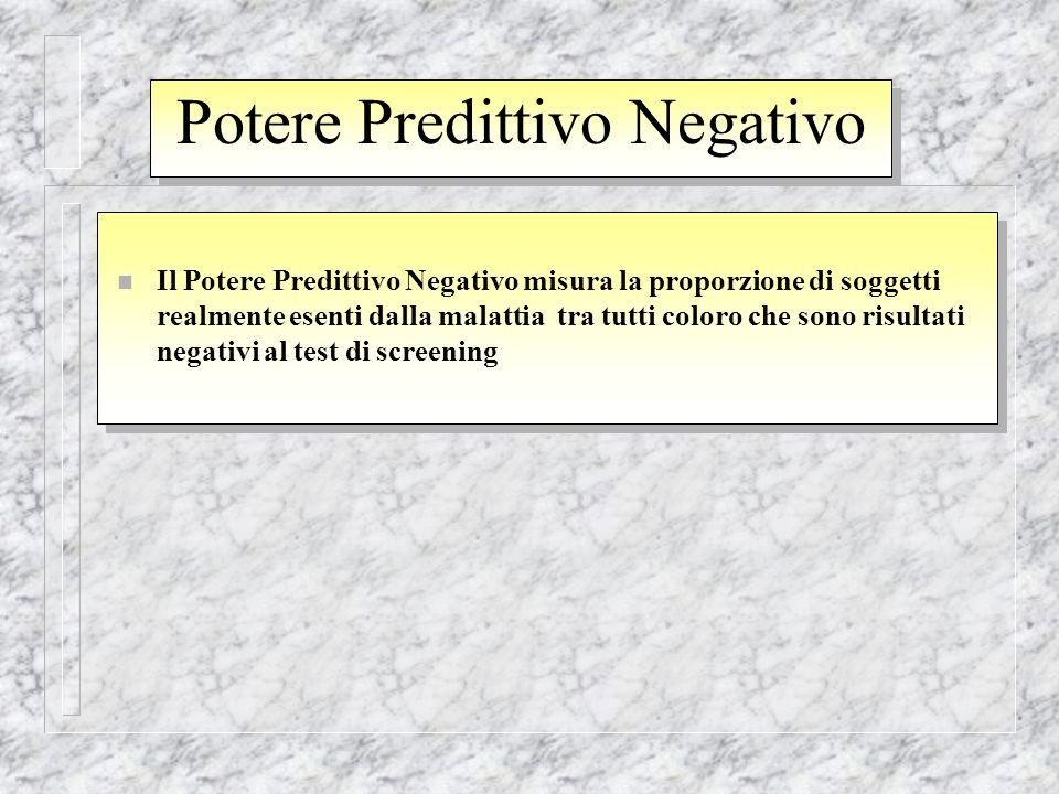 Potere Predittivo Negativo n Il Potere Predittivo Negativo misura la proporzione di soggetti realmente esenti dalla malattia tra tutti coloro che sono