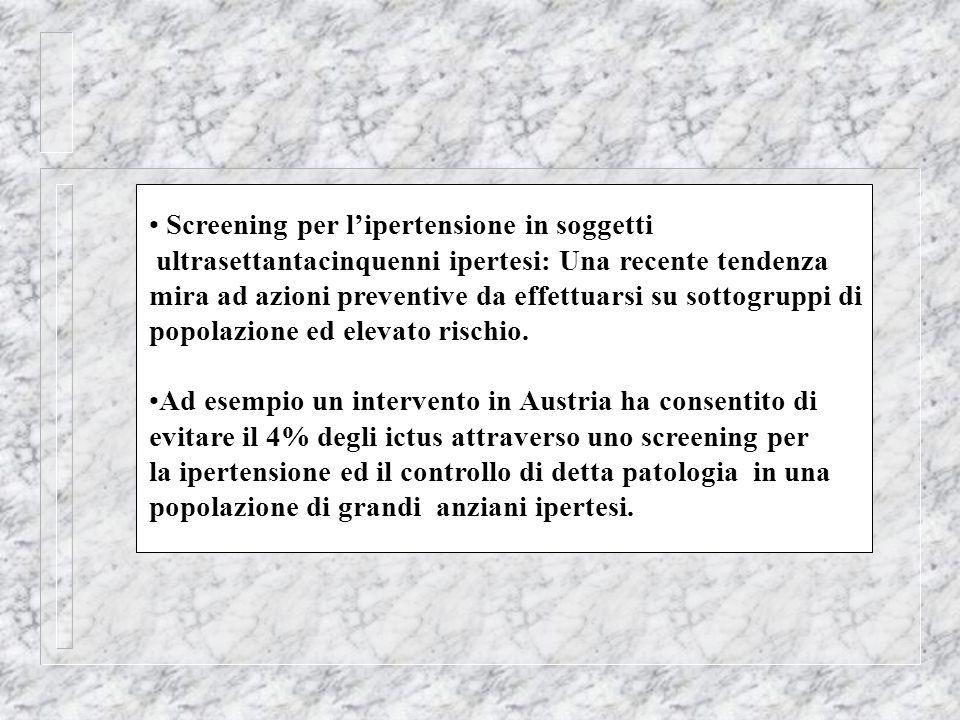 Screening per lipertensione in soggetti ultrasettantacinquenni ipertesi: Una recente tendenza mira ad azioni preventive da effettuarsi su sottogruppi