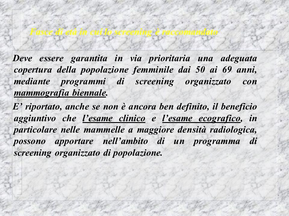 Fasce di età in cui lo screening è raccomandato Deve essere garantita in via prioritaria una adeguata copertura della popolazione femminile dai 50 ai
