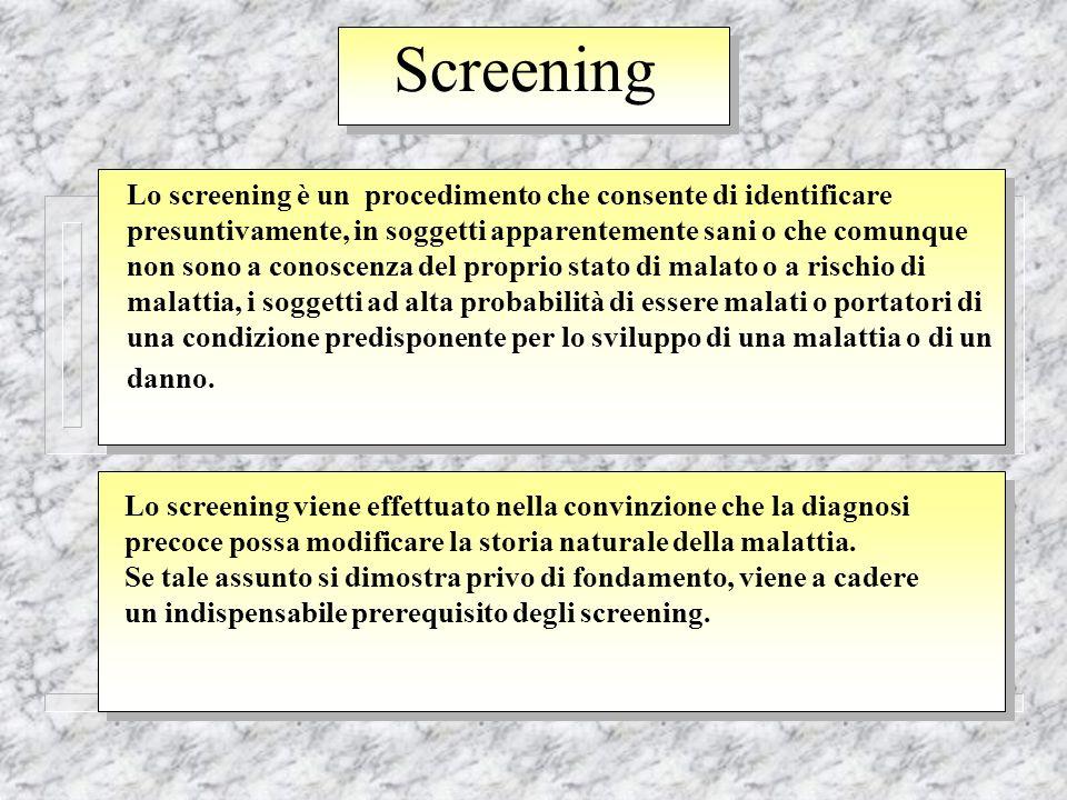 Screening Lo screening è un procedimento che consente di identificare presuntivamente, in soggetti apparentemente sani o che comunque non sono a conos