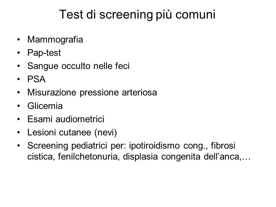 Test di screening più comuni Mammografia Pap-test Sangue occulto nelle feci PSA Misurazione pressione arteriosa Glicemia Esami audiometrici Lesioni cu