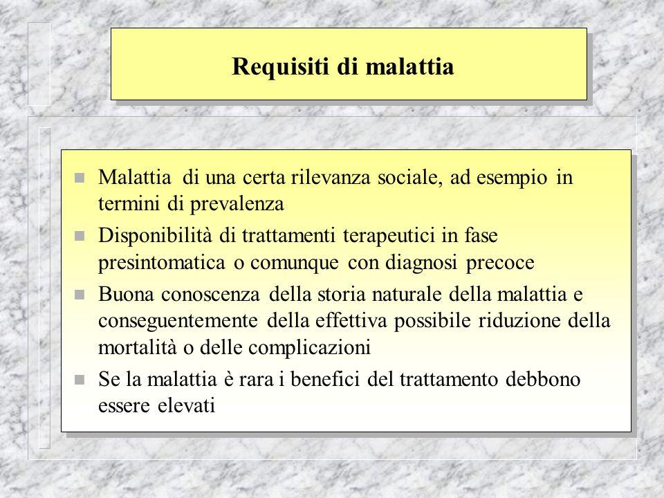 Requisiti di malattia n Malattia di una certa rilevanza sociale, ad esempio in termini di prevalenza n Disponibilità di trattamenti terapeutici in fas