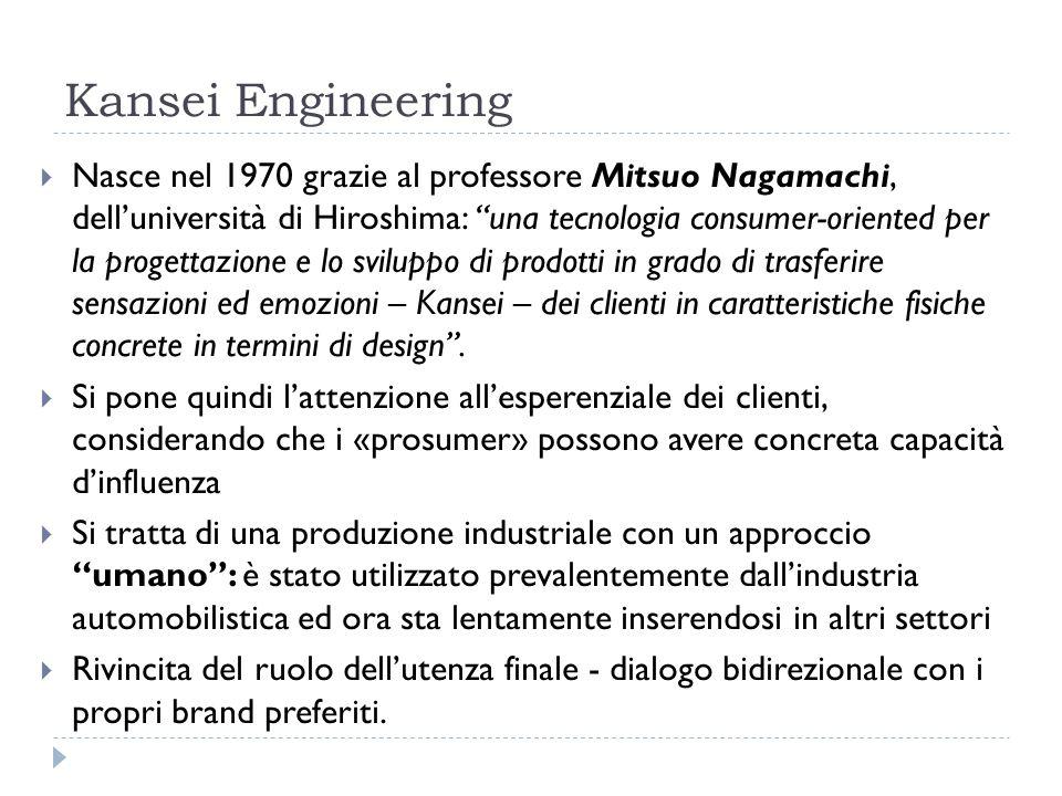 Kansei Engineering Nasce nel 1970 grazie al professore Mitsuo Nagamachi, delluniversità di Hiroshima: una tecnologia consumer-oriented per la progettazione e lo sviluppo di prodotti in grado di trasferire sensazioni ed emozioni – Kansei – dei clienti in caratteristiche fisiche concrete in termini di design.
