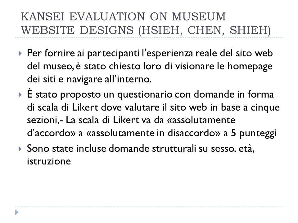 Per fornire ai partecipanti l esperienza reale del sito web del museo, è stato chiesto loro di visionare le homepage dei siti e navigare allinterno.