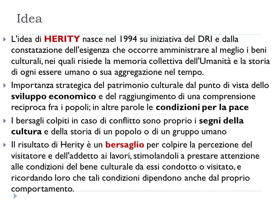 Idea L idea di HERITY nasce nel 1994 su iniziativa del DRI e dalla constatazione dell esigenza che occorre amministrare al meglio i beni culturali, nei quali risiede la memoria collettiva dell Umanità e la storia di ogni essere umano o sua aggregazione nel tempo.