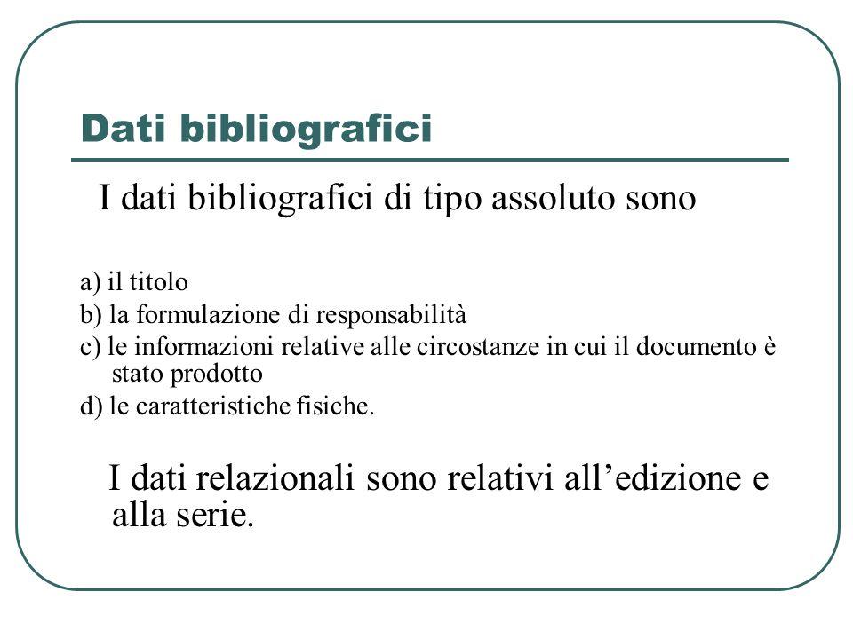 Dati bibliografici I dati bibliografici di tipo assoluto sono a) il titolo b) la formulazione di responsabilità c) le informazioni relative alle circo