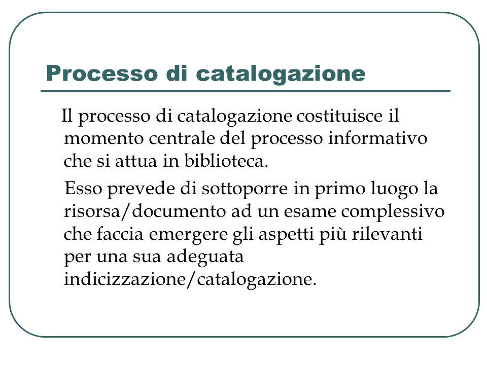 Processo di catalogazione Il processo di catalogazione costituisce il momento centrale del processo informativo che si attua in biblioteca. Esso preve