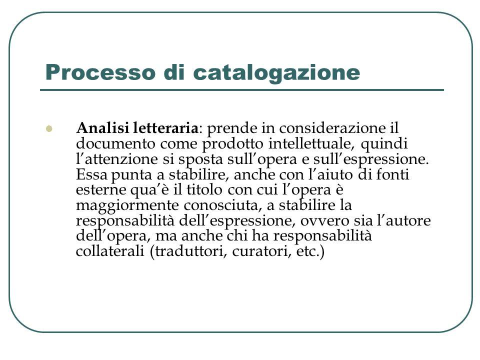 Processo di catalogazione Analisi letteraria : prende in considerazione il documento come prodotto intellettuale, quindi lattenzione si sposta sullope