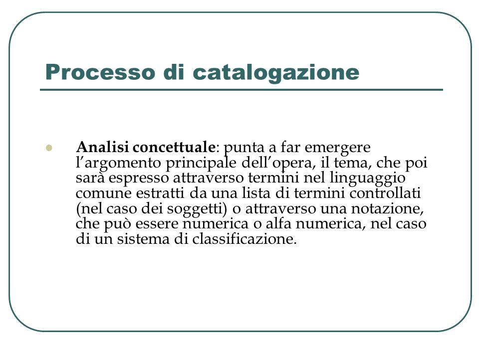 Processo di catalogazione Analisi concettuale : punta a far emergere largomento principale dellopera, il tema, che poi sarà espresso attraverso termin