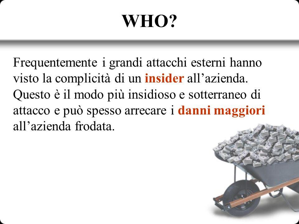 WHO? Frequentemente i grandi attacchi esterni hanno visto la complicità di un insider allazienda. Questo è il modo più insidioso e sotterraneo di atta