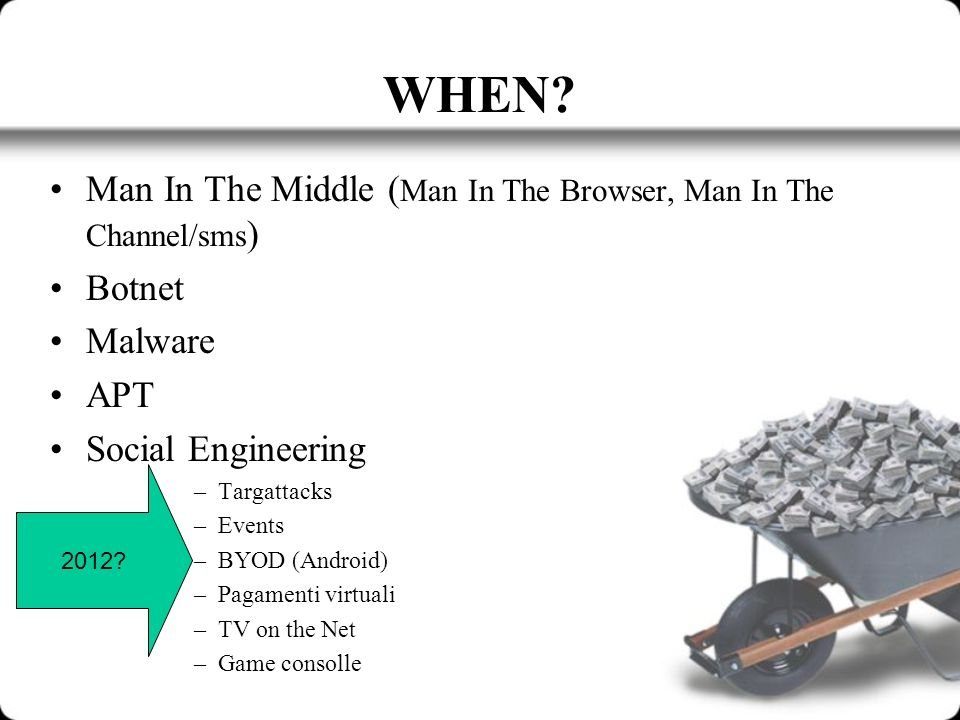 WHEN? Man In The Middle ( Man In The Browser, Man In The Channel/sms ) Botnet Malware APT Social Engineering –Targattacks –Events –BYOD (Android) –Pag