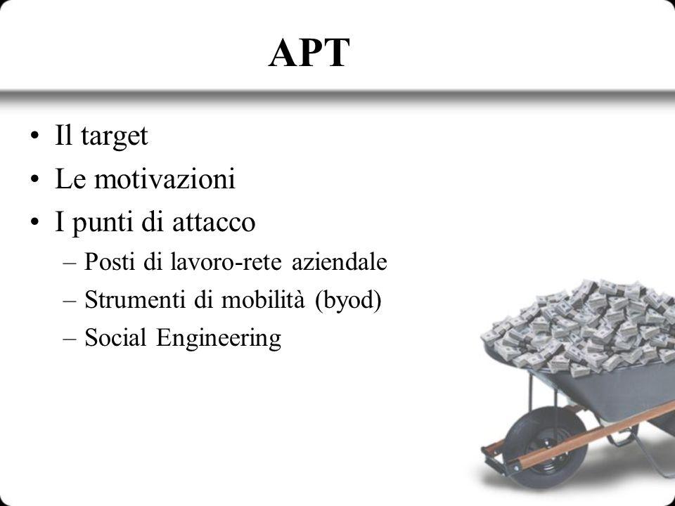 APT Il target Le motivazioni I punti di attacco –Posti di lavoro-rete aziendale –Strumenti di mobilità (byod) –Social Engineering