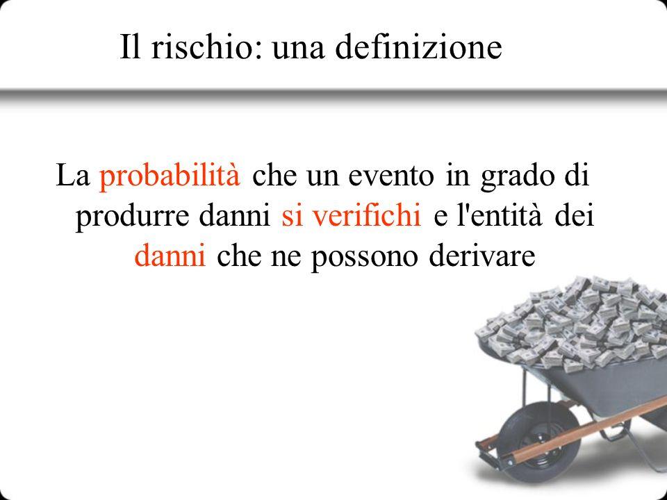 Il rischio: una definizione La probabilità che un evento in grado di produrre danni si verifichi e l'entità dei danni che ne possono derivare