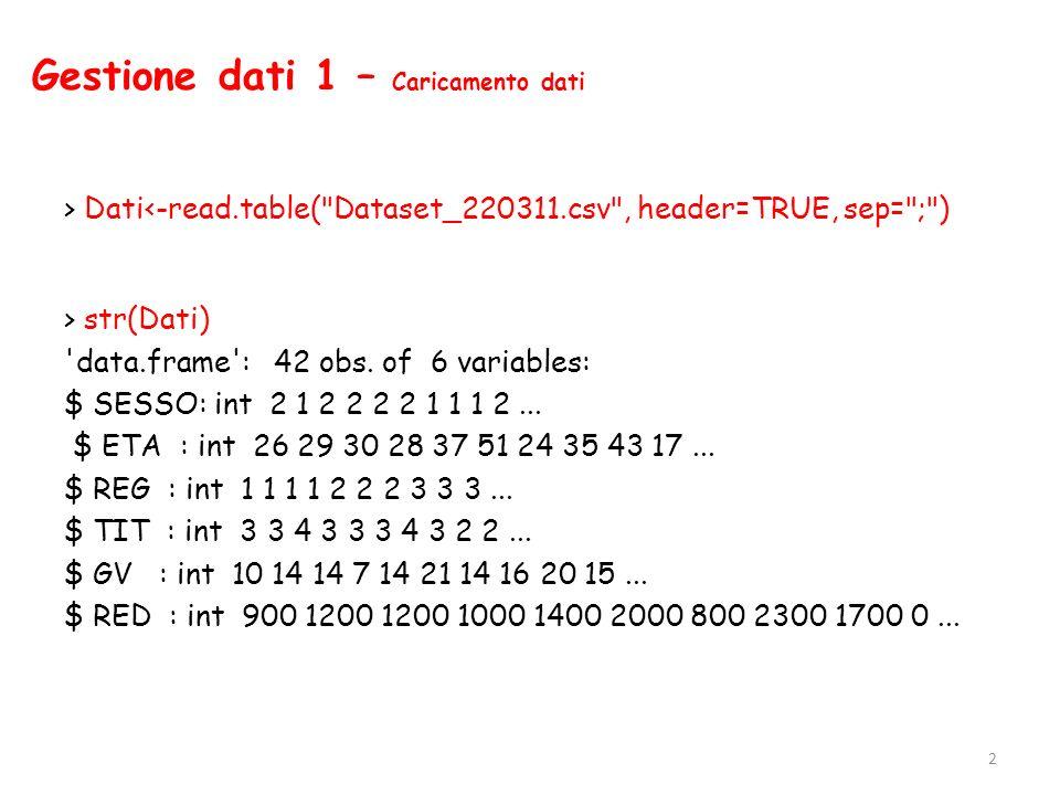 Analisi bivariata 1 – Tabelle di contingenza >tab1<-table(SESSO, REG) > tab1 REG SESSO Lazio Campania Toscana Sicilia Lombardia M 4 4 6 3 4 F 7 4 2 4 4 23