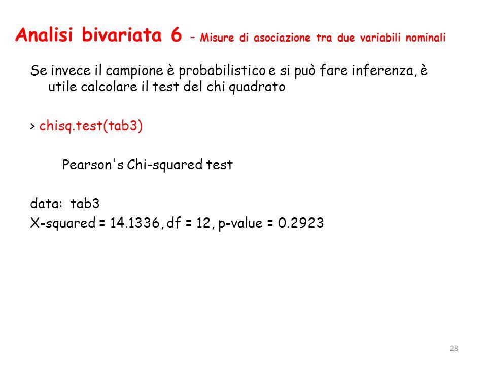 Analisi bivariata 6 – Misure di asociazione tra due variabili nominali Se invece il campione è probabilistico e si può fare inferenza, è utile calcola