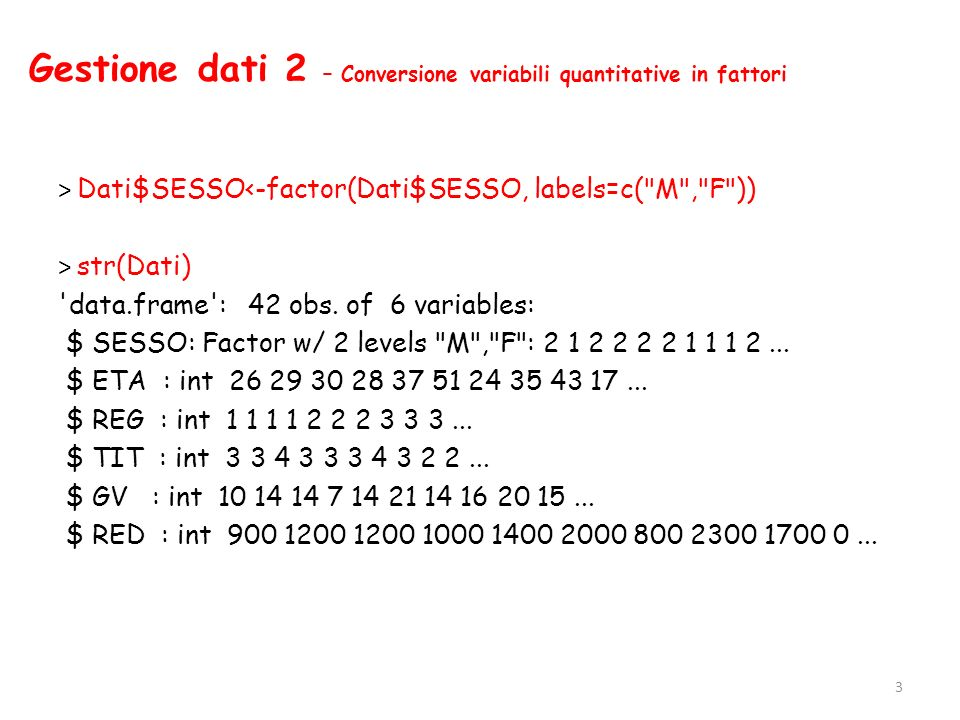 Analisi bivariata 2 – Tabelle di contingenza > margin.table(tab1, margin=1) SESSO M F 21 > margin.table(tab1, margin=2) REG Lazio Campania Toscana Sicilia Lombardia 11 8 8 7 8 > margin.table(tab1) [1] 42 24