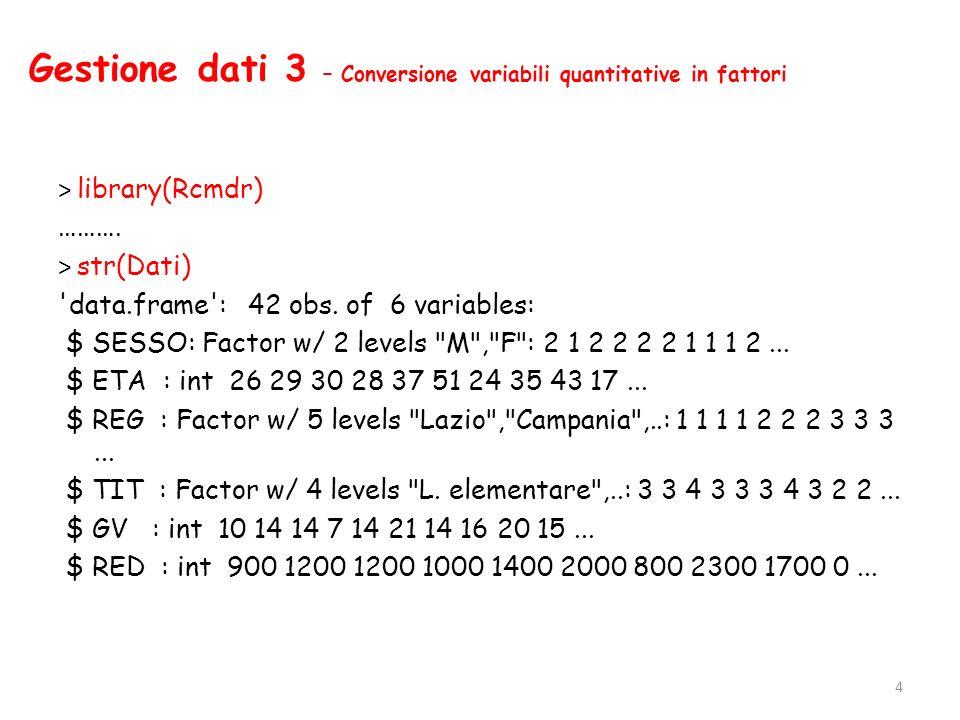 Gestione dati 4 – Rinominare una variabile e salvare il file di dati attivo > names(Dati) [1] SESSO ETA REG TIT GV RED > names(Dati)[c(5)]<-c( GI_VAC ) > str(Dati) data.frame : 42 obs.