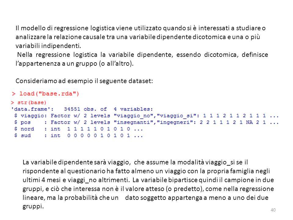 Il modello di regressione logistica viene utilizzato quando si è interessati a studiare o analizzare la relazione causale tra una variabile dipendente