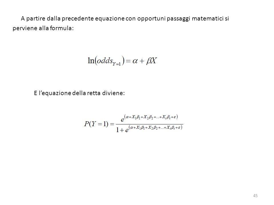 A partire dalla precedente equazione con opportuni passaggi matematici si perviene alla formula: E lequazione della retta diviene: 45