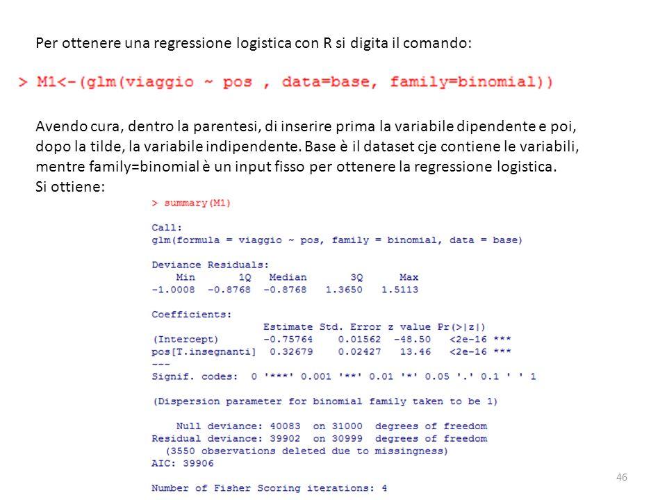 Per ottenere una regressione logistica con R si digita il comando: Avendo cura, dentro la parentesi, di inserire prima la variabile dipendente e poi,